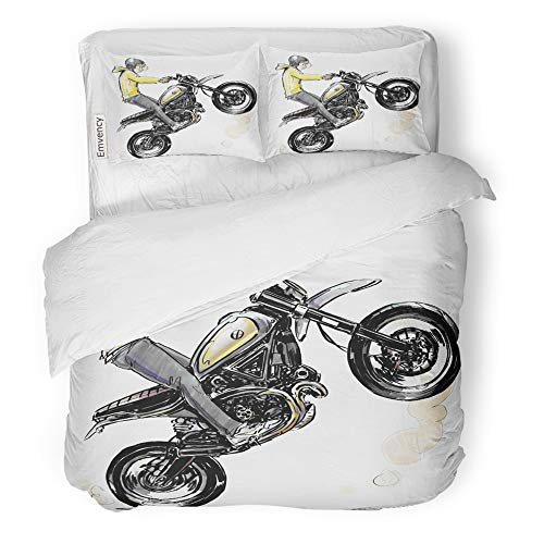 Emvency 3 Piece Duvet Cover Set Brushed Microfiber Fabric Breathable Activity Cool Boy Riding Motorcycle Automotive Bike Bedding Set with 2 Pillow Covers Twin Size
