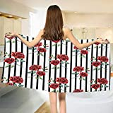 Chaneyhouse Watercolor,Bath Towel,Rose Pattern Vertical Stripes Pattern Romantic Love Valentines Day,Customized Bath Towels,Ruby Reseda Green Black Size: W 19.5'' x L 39.5''
