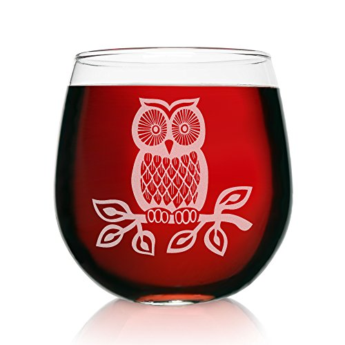 Engraved Stemless Wine Glasses-16.75 Ounce Capacity-Owl Design- 2 Piece Set- 16.75 Ounce Capacity- Elegant Glass-Multi-Perfect Gift for any Occasion- USA Made By: On The Rox (Owl-Engraved) by On The Rox