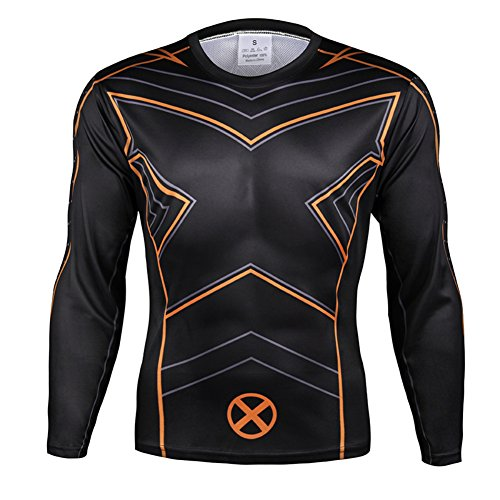 [HOCOOL Men's Long Sleeve Compression Shirt,Xmens Sports Runing Costume Tee 2XL] (Spider Costume Pattern Free)