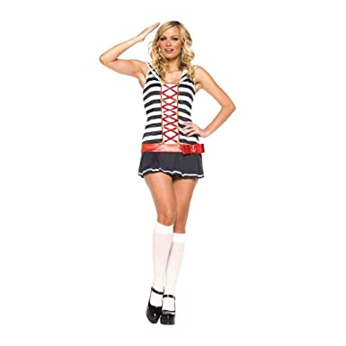 Amazon.com: Disfraz de marinero a rayas para mujer, doble ...