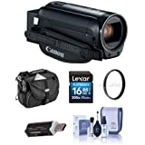 Canon VIXIA HF R800 3.28MP Full HD Camcorder, Black - Bundle With 43mm UV Filter, Video Bag, 16GB SDHC Card, Cleaning Kit, Card Reader