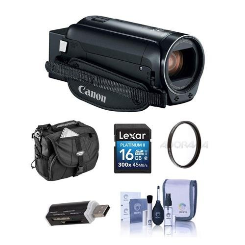 Canon VIXIA HF R800 3.28MP Full HD Camcorder, Black – Bundle With 43mm UV Filter, Video Bag, 16GB SDHC Card, Cleaning Kit, Card Reader