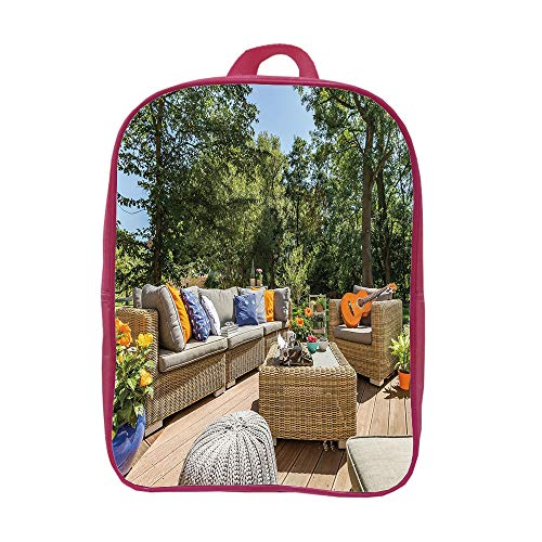 Cheap  iPrint Children's Backpacks Schoolbag Fashion,Patio Decor,Summer Town House Terrace Balcony with Trees..
