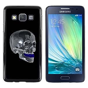 rígido protector delgado Shell Prima Delgada Casa Carcasa Funda Case Bandera Cover Armor para Samsung Galaxy A3 SM-A300 /Chrome Skull/ STRONG