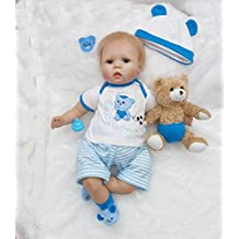 "Pursue Baby Soft Body Lifelike Poseable Baby Boy with Blue Eyes ""ABC"", 22 Inch 3/4 Vinyl Limbs Realistic Weighted Baby Doll with Pacifier"