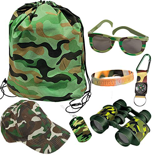 The Trendy Turtle Kids Camouflage Camo Soldier Toy Bundle Featuring Backpack, Hat, Binoculars, Dog Tag, Sunglasses, Bracelet and Compass - Great for Halloween Costume or Dress Up Play -
