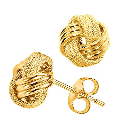 - 14k Gold Shiny And Textured Triple Row Love Knot Stud Earrings, 10mm