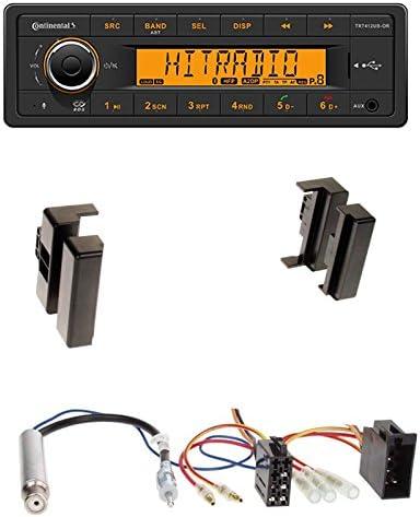 Einbauset Autoradio Continental Tr7412ub Or Bluetooth Rds Usb Mp3 1 Din Radioblende Radio Blende Schwarz Für