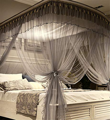 Mosquito net Indoor Mosquito net Outdoor Mosquito net Travel Mosquito net Anti-Mosquito Insect net Palace Mosquito net Bedroom Decoration, Gray, L (97-220Adjustment) W200cm by RFVBNM Mosquito net (Image #6)