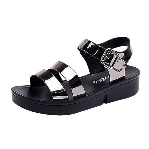ramassé super pas cher se compare à les mieux notés BASACA Sandales Femme Fille Printemps Été Chaussures Boucle Ceinture Plate  Décontractée Épais Bas Chaussons Mode 2019