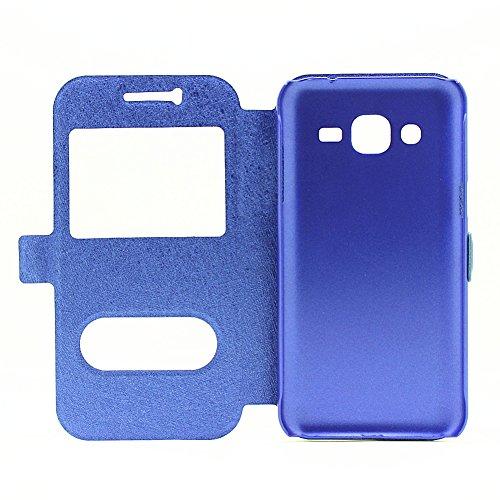 Carcasas y fundas Móviles, Para Samsung Galaxy J2 2015, color sólido PU cuero con soporte doble ventana abierta patrón de seda funda protectora para Samsung Galaxy J2 2015 (responder o rechazar llamad Blue