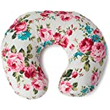 Minky Nursing Pillow Cover | White Floral Pattern Slipcover...