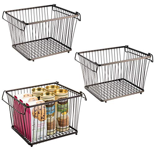 mDesign Household Stackable Wire Storage Organizer Bin Basket with Built-in Handles for Kitchen Cabinets, Pantry, Closets, Bedrooms, Bathrooms � Large, Pack of 3, Steel in Durable Bronze Finish