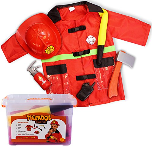 Fireman Costume for Kids - Firefighter Costume - Dress Up for Kids - (7 Pc Set) With Case by (Firefighter Kids Costume)