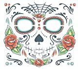 Day of the Dead Sugar Skull Unisex Full Face Temporary Tattoo