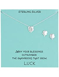 Sterling Silver Four Leaf Clover Necklace and Earrings Jewelry Set