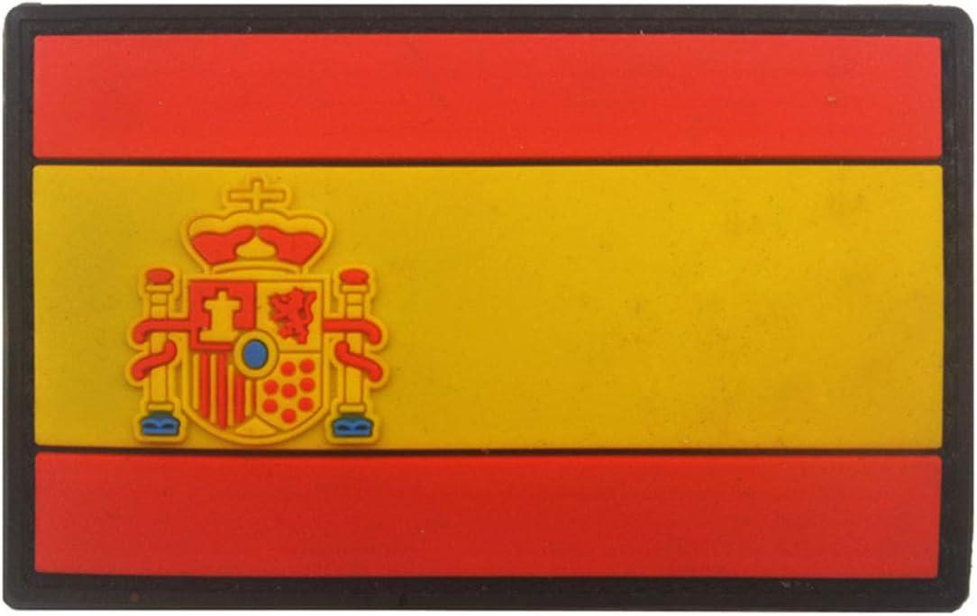 Ohrong España bandera nacional Espana PVC Morale Patch Ejército de combate Paintball insignia de goma Emblema Emblema Applique con gancho de respaldo para abrigos chaquetas Caps rosso: Amazon.es: Hogar