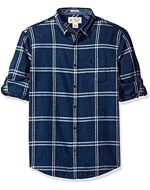 Men's Roll Sleeve Linen Blend Window Pane Shirt with Pocket!