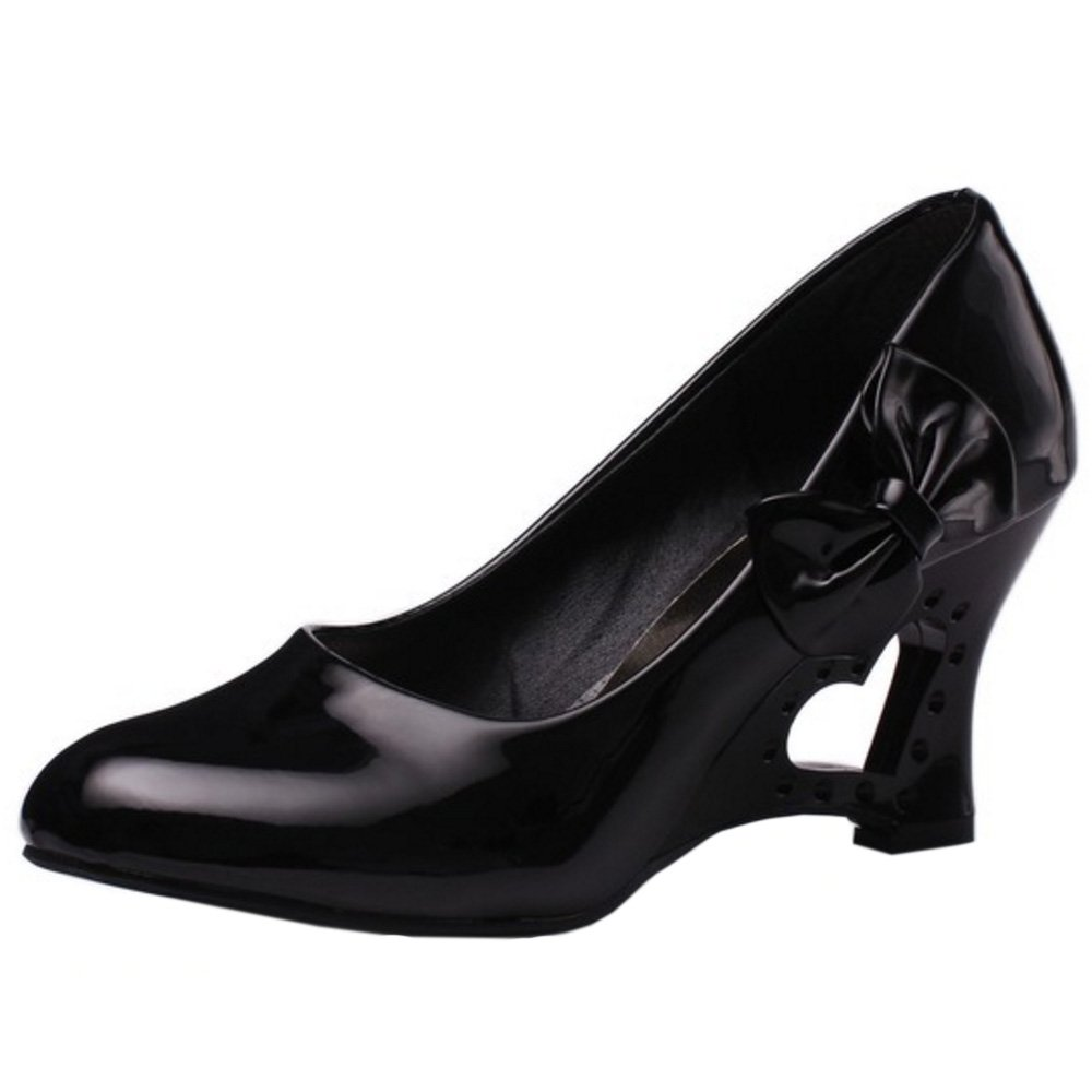 FANIMILA Women Fashion Slip On Strange Heel Pumps With Bowknot B0746HPMHG 5 B(M)US = 23 CM|Black