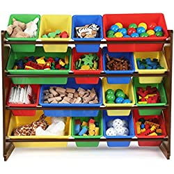 TOT Tutors WO420 Discover Collection Supersized Wood Toy Storage Organizer, Extra Large, Primary Colors