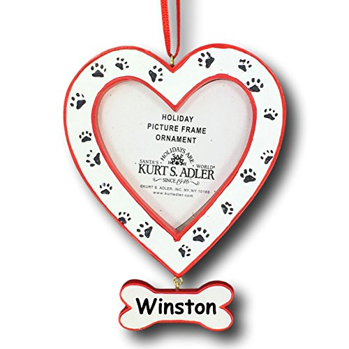 Custom Made Christmas Ornaments (Kurt Adler Personalized Red and White Heart Shape Dog Paw Print with Dog Bone for Pet Hanging Christmas Ornament and Display Photo Frame with Custom Name - 3.25)