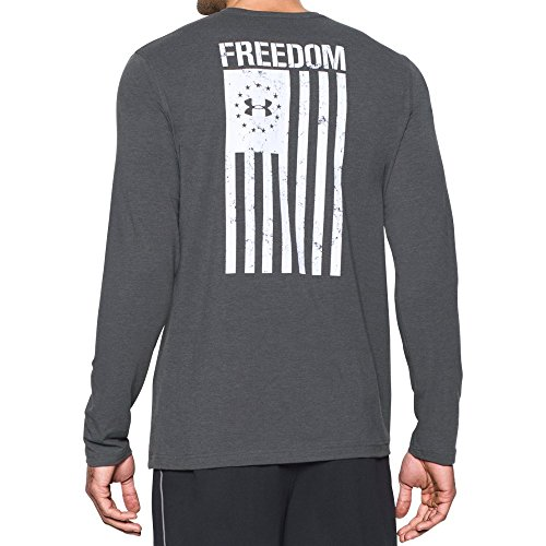 Under Armour Mens Freedom Flag Long Sleeve T-Shirt,Carbon Heather (090)/White, Large