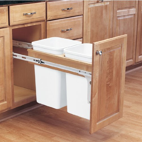 Top Mount Trash Pull-Outs with Standard Close Single & Double Bins in Solid Wood Frame by Rev-A-Shelf