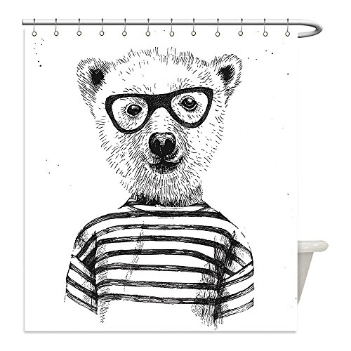 Liguo88 Custom Waterproof Bathroom Shower Curtain Polyester Decor Dressed Up Hipster Nerd Smart Male Bear in Glasses Fun Character Animal Artful Print Decor Black White Decorative bathroom