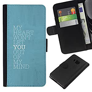 KingStore / Leather Etui en cuir / HTC One M7 / Remarquez Affiche d'amour You Baby