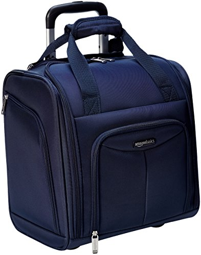 AmazonBasics Underseat Carry-On Rolling Travel Luggage Bag, Navy Blue (Best Lightweight Luggage Uk)