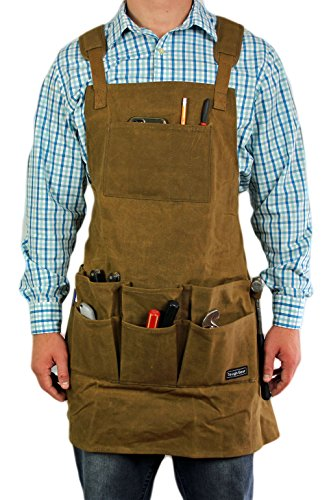Smith Forge (Brown) Heavy Duty Waxed Canvas Work-Shop-Tool Apron 11Pockets-Adjust SM-XXL (Smith Grommet)