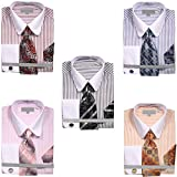 Sunrise Outlet Mens Pinstripe Dress Shirt with Tie Handkerchief Cufflinks