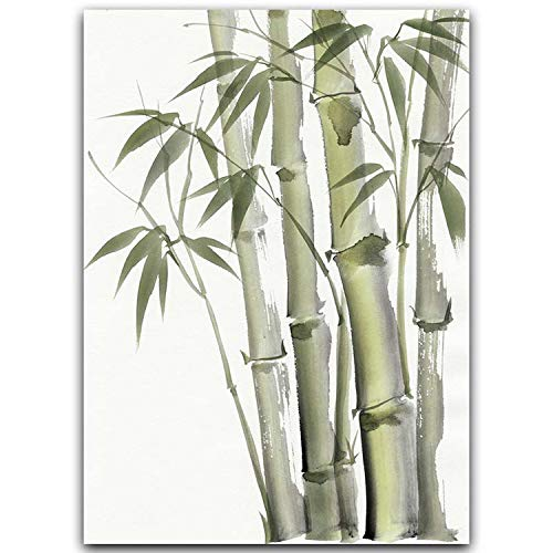 Bamboo Leaf Poster Zen Decoration New Chinese Unreal Abstract Ink Painting Print Wall Art Canvas Painting Picture for Home Decor,A2 42x60cm No Frame,from 288-2