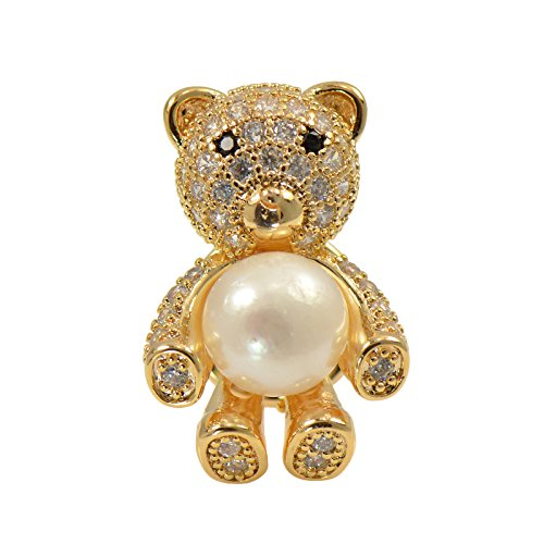 Pearl Gold Cultured Brooch (Paialco Yellow Gold Tone Cluster CZ Cute Bear Brooch Pin with 8MM Cultured Freshwater Pearl)