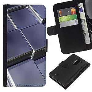 A-type (Cubos de metal abstractas) Colorida Impresión Funda Cuero Monedero Caja Bolsa Cubierta Caja Piel Card Slots Para LG G3