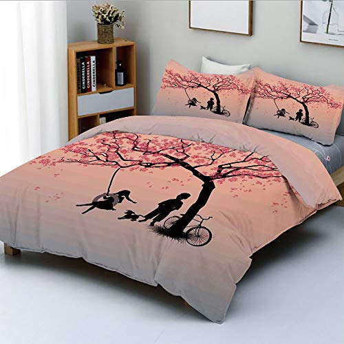 (Duplex Print Duvet Cover Set Full Size,Children Playing on a Tire Swing under Cherry Tree with Dog Blossom Spring ArtDecorative 3 Piece Bedding Set with 2 Pillow Sham,Pink Black,Best Gift For Kids & A)