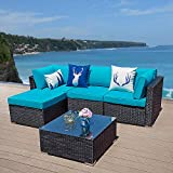 Glowin 5 PCs Outdoor Furniture Sectional Sofa Set Patio Wicker Sofa, 5 Piece All-Weather PE Rattan Furniture Sets with Blue Cushion, Black