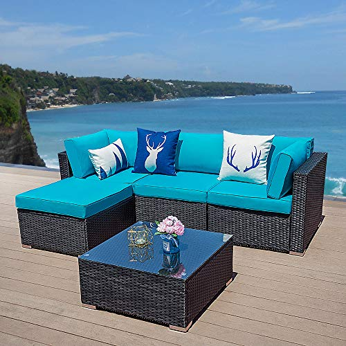Green4ever 5 PCs Outdoor Furniture Sectional Sofa Set Patio Wicker Sofa, 5 Piece All-Weather PE Rattan Furniture Sets with Blue Cushion, Black (Sale Sectional Patio Furniture On)
