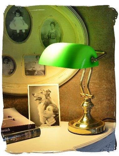 Bibliothekslampe/Schreibtischlampe/Banker-Lampe/Banker-Leuchte/Pultleuchte, echter Klassiker im Jugendstil mit grünem Glas - Palazzo Exclusive