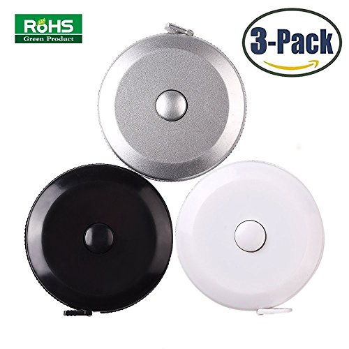 3 Pack Tape Measure 150 Cm 60 Inch Push Button Tape Body Measuring Soft Retractable For Sewing Double-Sided Tailor Cloth Ruler (Silver White Black) By BUSHIBU (Tape Measure Ruler)