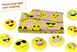 Twin Size Emoji Bed in a Bag Fabugears Emoji Fun Sheet Set Comes With Plush Round 13 Inch Yellow Pillow Emoticon - 3 Piece (PINK, Twin size)