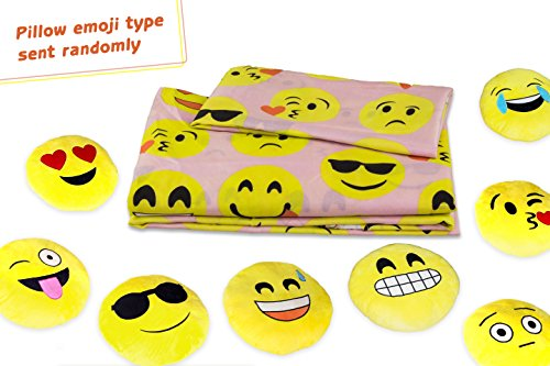 Fabugears Emoji Fun Sheet Set Comes With Plush Round 13 Inch Yellow Pillow Emoticon - 4 Piece (PINK, Full - Own Design Sunglasses Wholesale Your