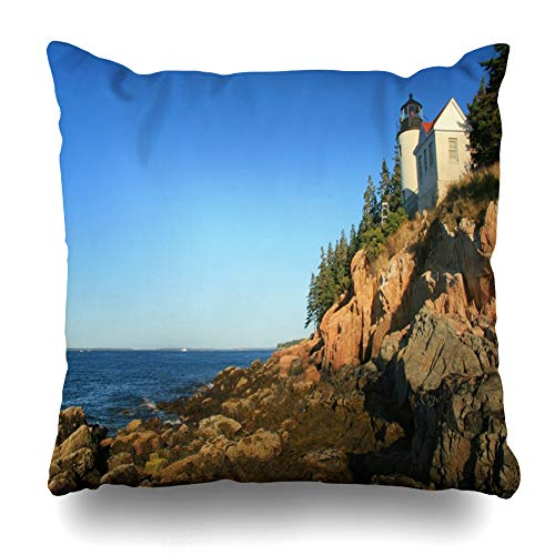 Ahawoso Throw Pillow Cover Square 16x16 Trees Maine Bass Harbor Light House Low Tide Lobster Nature Atlantic Clouds Coast Head Zippered Cushion Case Home Decor Pillowcase