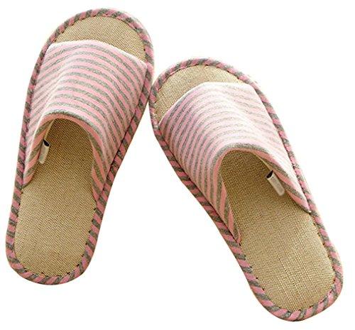 Blubi Mujeres Summer Stripes Flax Cosy Ladies Slippers Zapatillas De Dormitorio Rosa