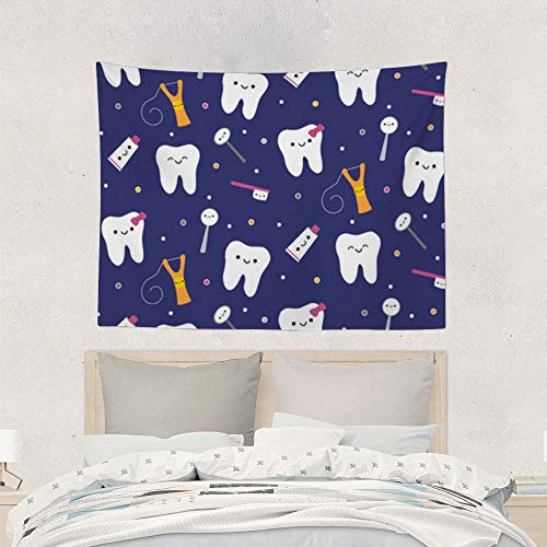 Jake Fashion Shop Blue Dental Fabric Toothpaste Tapestries Wall Art Hanging Tapestry, Table Cloth Curtain Bed Cover Wall Art for Photography Sliding Doors Ceilings Doorway - 60x90