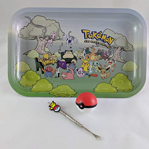 Party Edition Metal Smoking Rolling Tray Large Bundle Kit Pikachu Dab Stick Pokeball Silicone ()