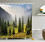 Farm House Decor by Ambesonne, Fir Trees on Meadow Between Hillsides with Conifer Forest in Fog before Sunrise, Polyester Fabric Bathroom Shower Curtain Set with Hooks, White Green