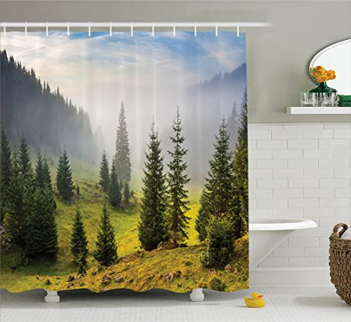 Ambesonne Farm House Decor Shower Curtain Set, Fir Trees on Meadow Between Hillsides with Conifer Forest in Fog before Sunrise, Bathroom Accessories, 75 Inches Long, White Green (Fir White Trees)