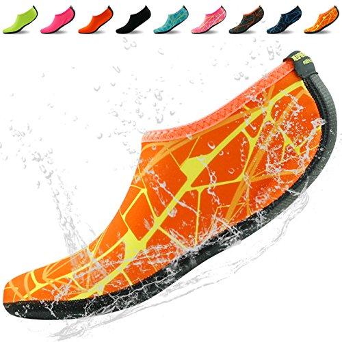 Startseite Slipper Barfuß Wasser Haut Schuhe Aqua Neopren Socken für Strand Pool Sand Swim Surf Yoga Schnorcheln Orange bedruckt